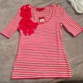 Sinclaire 10 Embellished Stretchy Bold Embroidered Bows Top Red & White Stripes Image 1