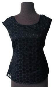 Ann Taylor Crotchet Date Night Night Out Top Black