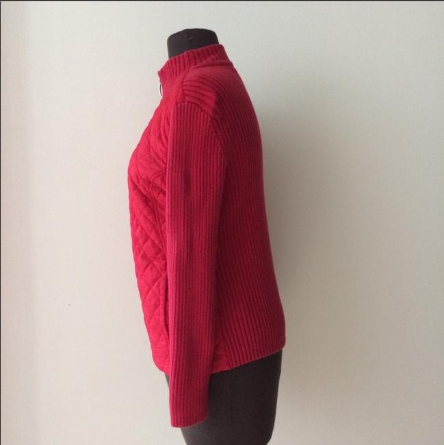 Croft & Barrow Knit Holiday Zip-up Fall Winter Red Jacket Image 2