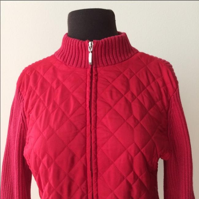 Croft & Barrow Knit Holiday Zip-up Fall Winter Red Jacket Image 4