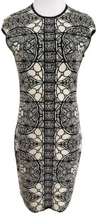 Alexander McQueen Stained Glass Wool Short Sleeves Stretch Dress