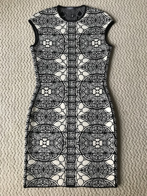 Alexander McQueen Stained Glass Wool Short Sleeves Stretch Dress Image 10