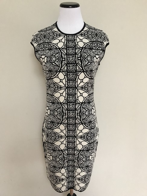 Alexander McQueen Stained Glass Wool Short Sleeves Stretch Dress Image 4