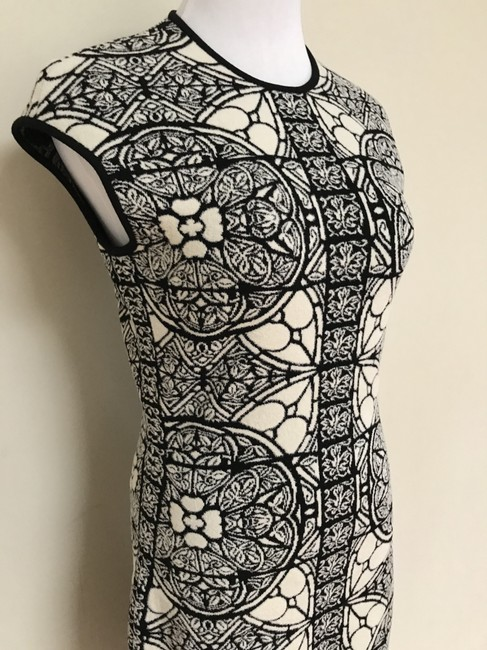 Alexander McQueen Stained Glass Wool Short Sleeves Stretch Dress Image 7