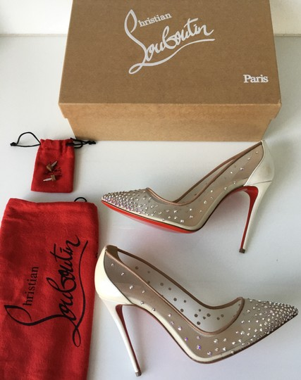 Christian Louboutin Heels Point Toe Strass Follies Crystal White Pumps Image 1