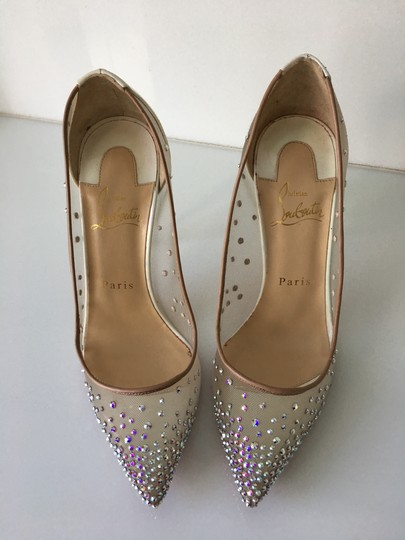 Christian Louboutin Heels Point Toe Strass Follies Crystal White Pumps Image 3