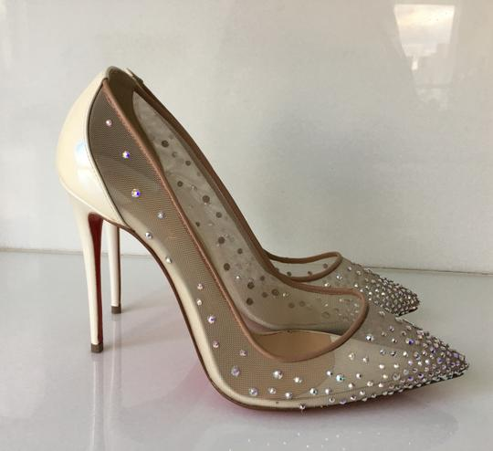 Christian Louboutin Heels Point Toe Strass Follies Crystal White Pumps Image 4