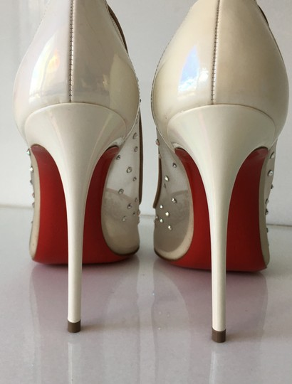 Christian Louboutin Heels Point Toe Strass Follies Crystal White Pumps Image 5