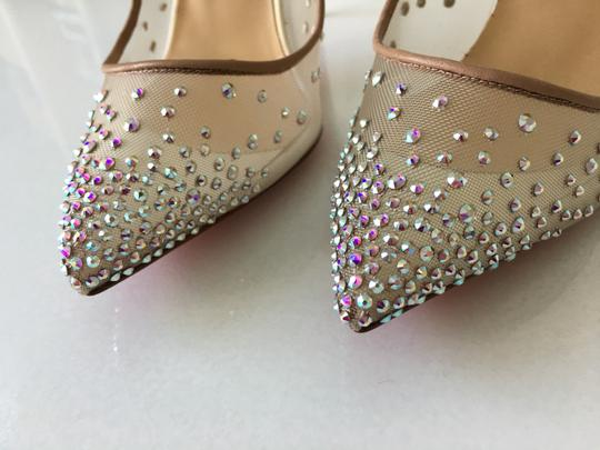 Christian Louboutin Heels Point Toe Strass Follies Crystal White Pumps Image 6