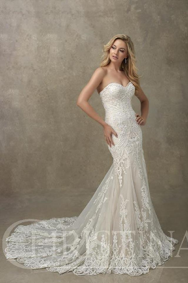 9eadd26a23 Christina Wu Ivory Over Cafe Lace and Tulle 18091 Traditional Wedding Dress  Size 14 (L ...