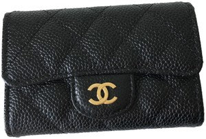 Chanel Classic Flap Quilted Caviar Leather Gold CC Snap Card Holder