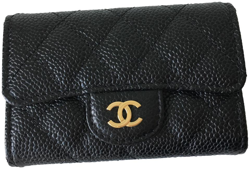 2b3063744e62 Chanel Classic Flap Quilted Caviar Leather Gold CC Snap Card Holder Image 0  ...