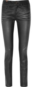 Bamboo Leather Skinny Pants Black