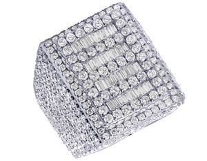 Jewelry Unlimited Mens 10K White Gold Baguette Real Diamond Pinky Ring 10.45 CT