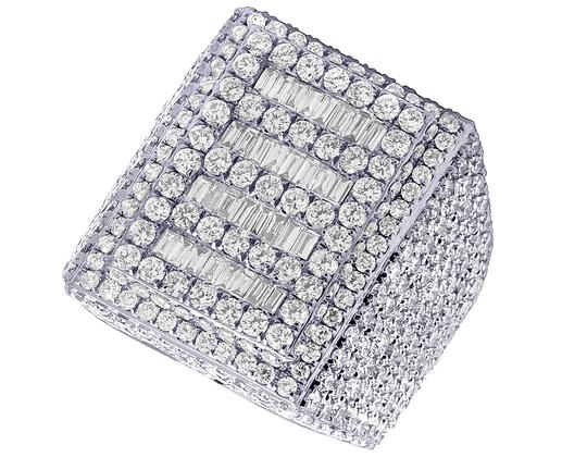 Jewelry Unlimited Mens 10K White Gold Baguette Real Diamond Pinky Ring 10.45 CT Image 1