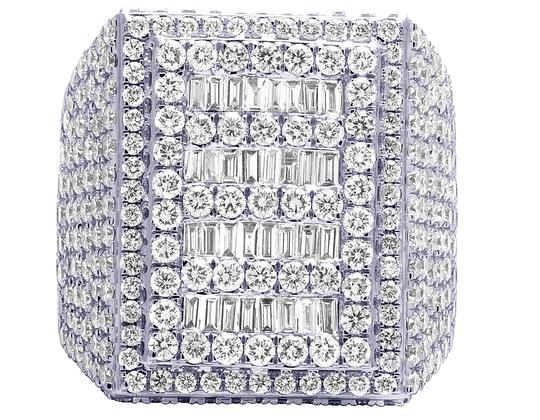 Jewelry Unlimited Mens 10K White Gold Baguette Real Diamond Pinky Ring 10.45 CT Image 2