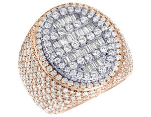 Jewelry Unlimited Mens 10K Two Tone Gold Rose White Baguette Diamond Pinky Ring 8.60CT