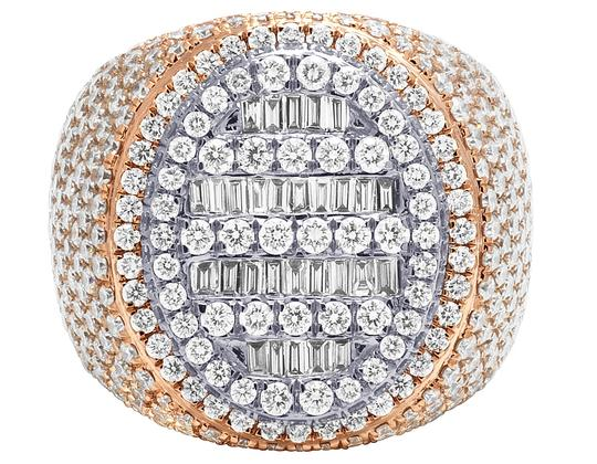 Jewelry Unlimited Mens 10K Two Tone Gold Rose White Baguette Diamond Pinky Ring 8.60CT Image 2