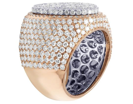 Jewelry Unlimited Mens 10K Two Tone Gold Rose White Baguette Diamond Pinky Ring 8.60CT Image 3