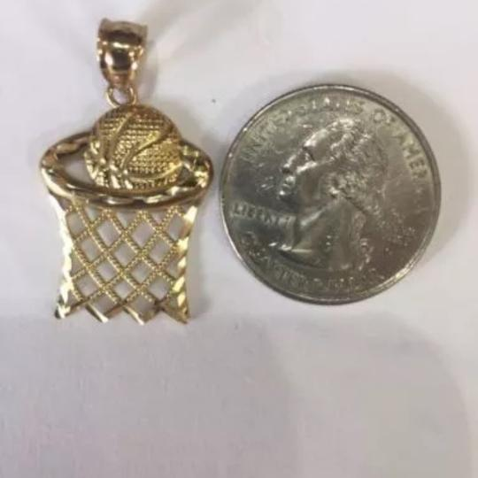 Impressed Jewelry 10k Yellow REAL Gold Basketball & Hoop Charm Pendant Image 1