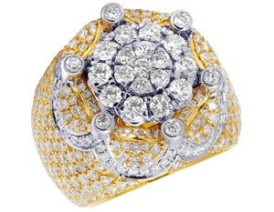 Jewelry Unlimited Mens 10K Two Tone Gold Crown Real Diamond Flower Cluster XL Pinky Ring