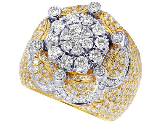 Jewelry Unlimited Mens 10K Two Tone Gold Crown Real Diamond Flower Cluster XL Pinky Ring Image 1
