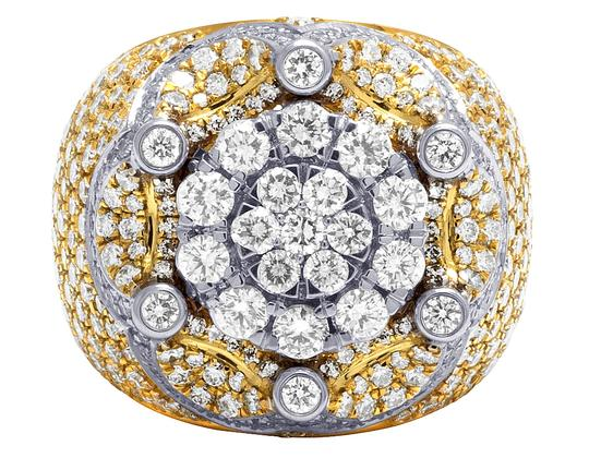 Jewelry Unlimited Mens 10K Two Tone Gold Crown Real Diamond Flower Cluster XL Pinky Ring Image 2