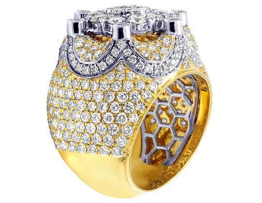 Jewelry Unlimited Mens 10K Two Tone Gold Crown Real Diamond Flower Cluster XL Pinky Ring Image 3