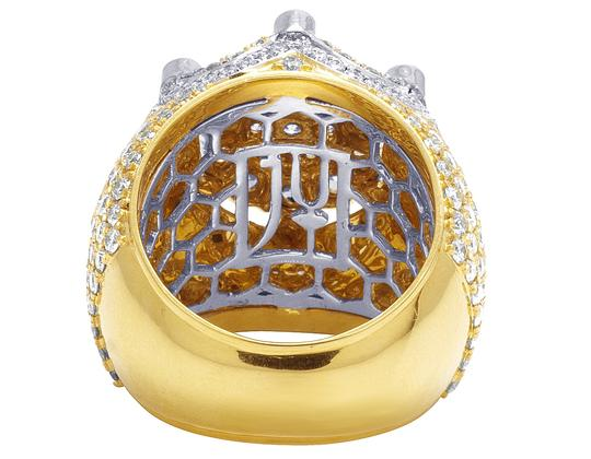 Jewelry Unlimited Mens 10K Two Tone Gold Crown Real Diamond Flower Cluster XL Pinky Ring Image 4