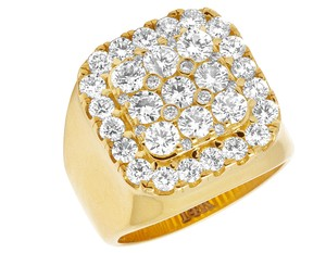 Jewelry Unlimited Mens 14K Yellow Gold Real Diamond Square Pinky Ring 4CT