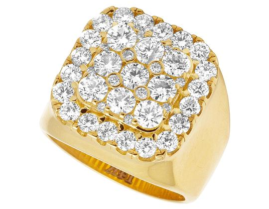 Jewelry Unlimited Mens 14K Yellow Gold Real Diamond Square Pinky Ring 4CT Image 1