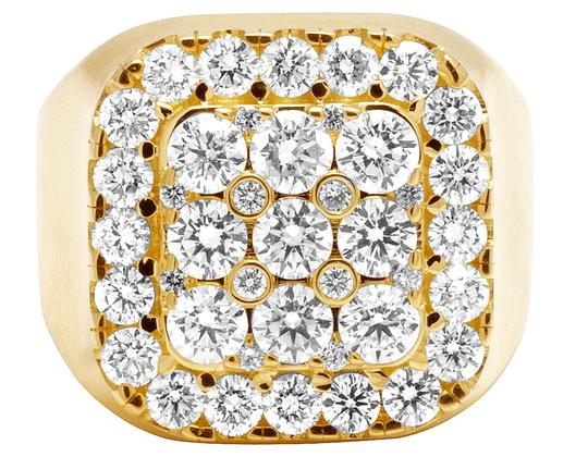 Jewelry Unlimited Mens 14K Yellow Gold Real Diamond Square Pinky Ring 4CT Image 2