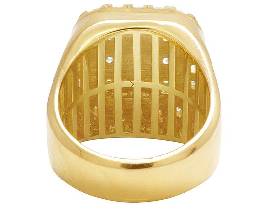 Jewelry Unlimited Mens 14K Yellow Gold Real Diamond Square Pinky Ring 4CT Image 3