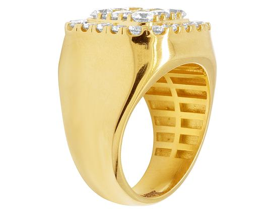 Jewelry Unlimited Mens 14K Yellow Gold Real Diamond Square Pinky Ring 4CT Image 4