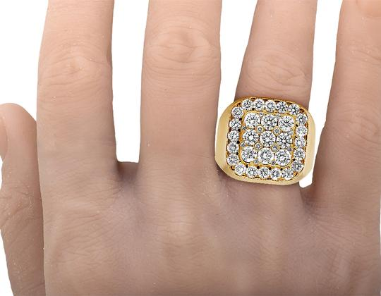 Jewelry Unlimited Mens 14K Yellow Gold Real Diamond Square Pinky Ring 4CT Image 5