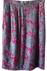 Talbots Excellent Skirt red back ground with beige/grey and silver paisley