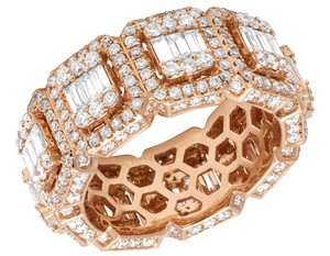 Jewelry Unlimited Mens 14K Rose Gold 3D Eternity Baguette Real Diamond Cluster Ring Band