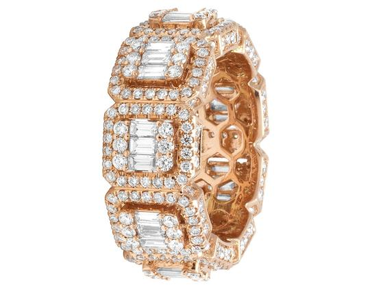 Jewelry Unlimited Mens 14K Rose Gold 3D Eternity Baguette Real Diamond Cluster Ring Band Image 2