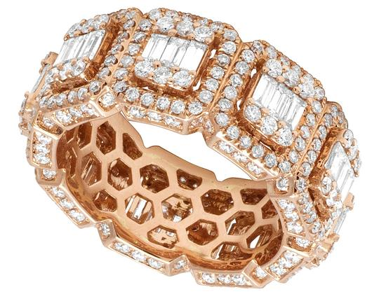 Jewelry Unlimited Mens 14K Rose Gold 3D Eternity Baguette Real Diamond Cluster Ring Band Image 3