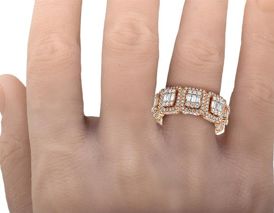 Jewelry Unlimited Mens 14K Rose Gold 3D Eternity Baguette Real Diamond Cluster Ring Band Image 4