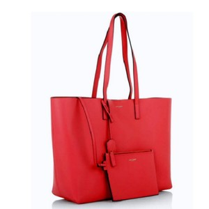Saint Laurent East West Leather Tote in New Red