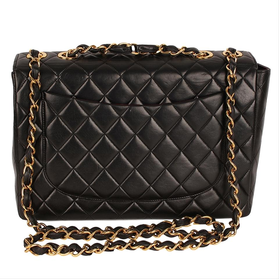 d953c9e5027f08 Chanel Classic Flap W Jumbo 30 Quilted Matelasse W/Chain 6698 Black  Lambskin Leather Cross Body Bag