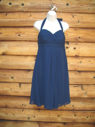 Bill Levkoff Blue Polyester Chiffon Halter Modern Bridesmaid/Mob Dress Size 12 (L) Image 1