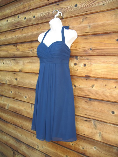 Bill Levkoff Blue Polyester Chiffon Halter Modern Bridesmaid/Mob Dress Size 12 (L) Image 2