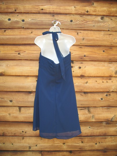 Bill Levkoff Blue Polyester Chiffon Halter Modern Bridesmaid/Mob Dress Size 12 (L) Image 4