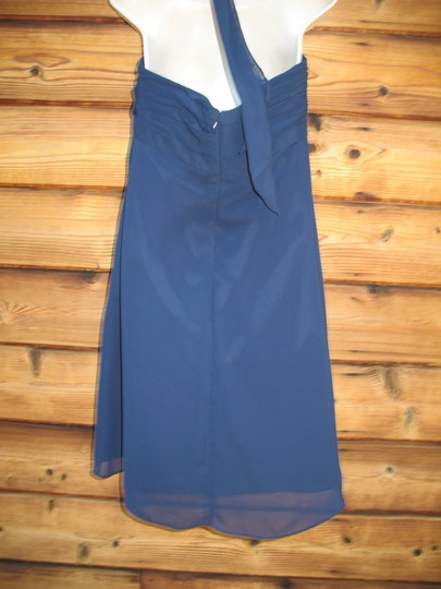 Bill Levkoff Blue Polyester Chiffon Halter Modern Bridesmaid/Mob Dress Size 12 (L) Image 6