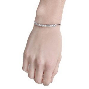 Kenneth Jay Lane NWT $89 CZ by Kenneth Jay Lane Womens Silver Round Chain Bracelet