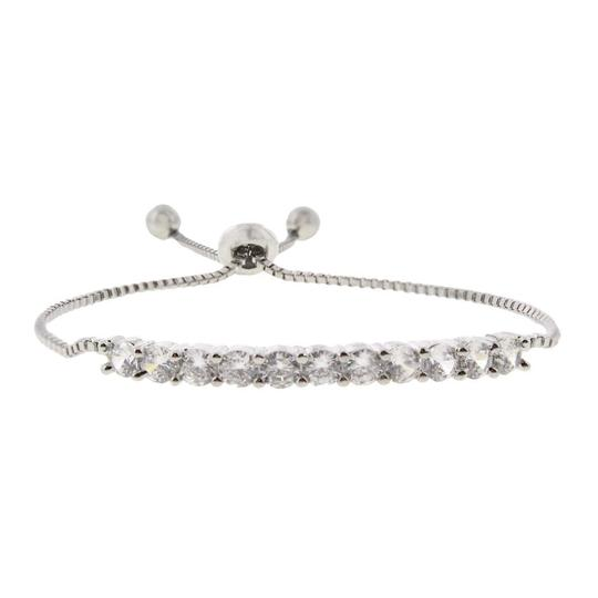Kenneth Jay Lane NWT $89 CZ by Kenneth Jay Lane Womens Silver Round Chain Bracelet Image 1