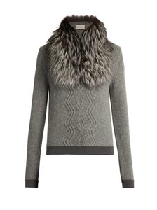 be982113ab31 Moncler Classic Detachable Fox Fur-collar Wool and Cashmere Blend ...