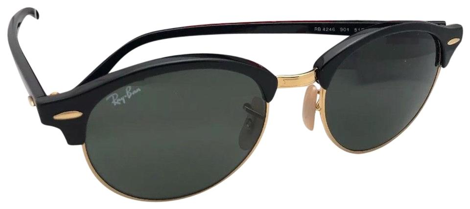 bf5c12811f2 Ray-Ban New Clubround Rb 4246 901 51-19 145 Black   Gold W Green ...